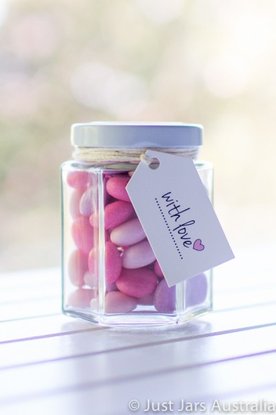 190ml hexagonal jar plus tags (various designs)