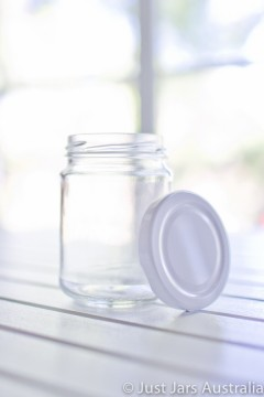 SALE ITEM - 72 x 250ml round jars with white lids