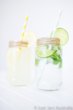 375ml round jar (no lid) WITH paper straws
