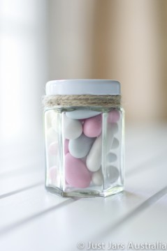 55ml hexagonal glass jar (with lid)