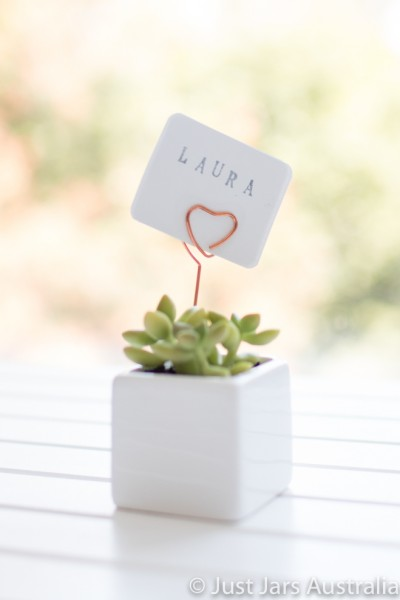 White 5cm planter with card holder (various designs)