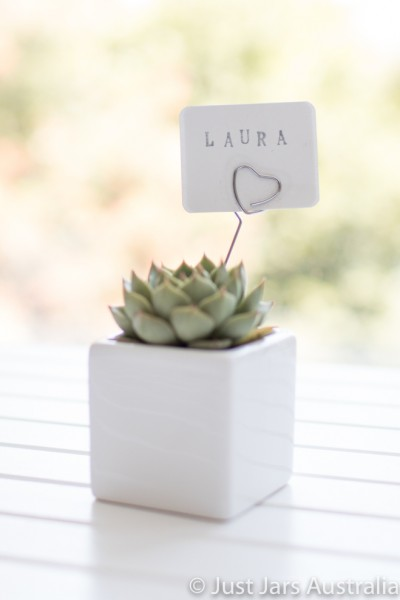 White 6cm planter with card holder (various designs)